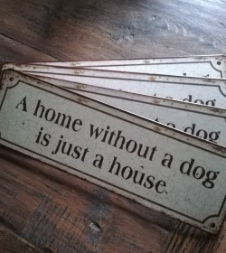 Skilt A home without a dog...