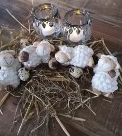Sæt med 4 hvide får i keramik