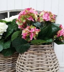 Kunstig pink/grøn hortensia...