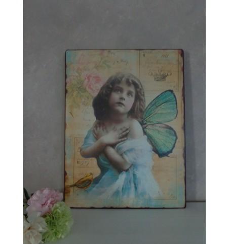 Skilt med sommerfugle-pige med krydsede arme (turkis) - 1