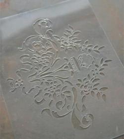 Stencil med blomst 18x22 cm.