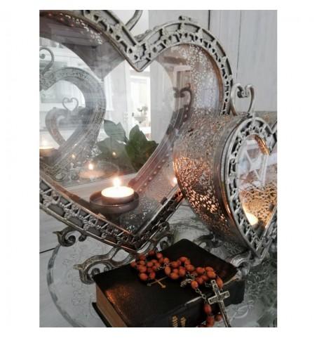 Lille antiksølv hjerte lanterne H: 20,5 cm.  - 2