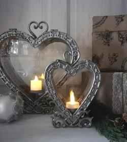 Lille antiksølv hjerte lanterne H: 20,5 cm.  - 3