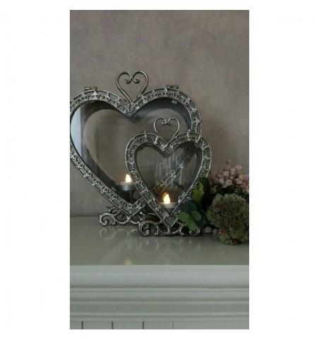 Lille antiksølv hjerte lanterne H: 20,5 cm.  - 4