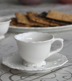 Hvid Provence kaffekop med underkop - 1