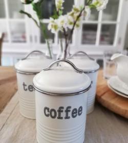 Hvid dåse i metal Coffee...