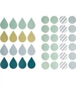 Runde og dråbeformede wallstickers (drengefarver) - 1