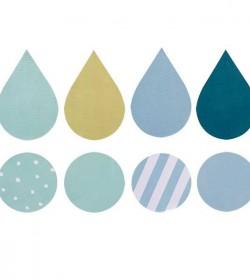 Runde og dråbeformede wallstickers (drengefarver) - 2