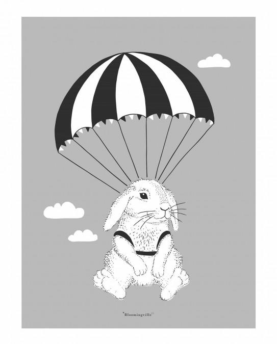 Plakat med kanin i faldskærm 30 x 40 cm. (grå) - 1