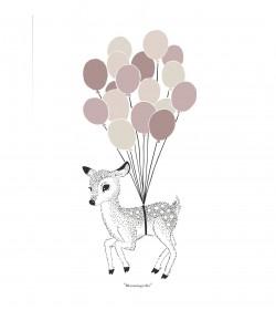 Plakat med bambi og balloner 30 x 40 cm. (rosa) - 1