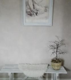 Lille hvidpatineret bænk 118,5 cm.  - 1
