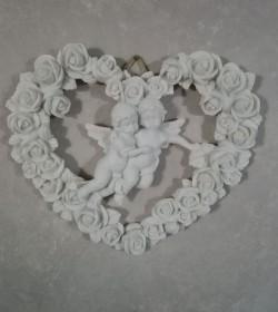 Hjertekrans med engle og roser - 1