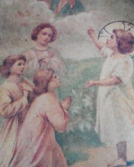 Stor plakat med englemotiv 34 x 54 cm.  - 1