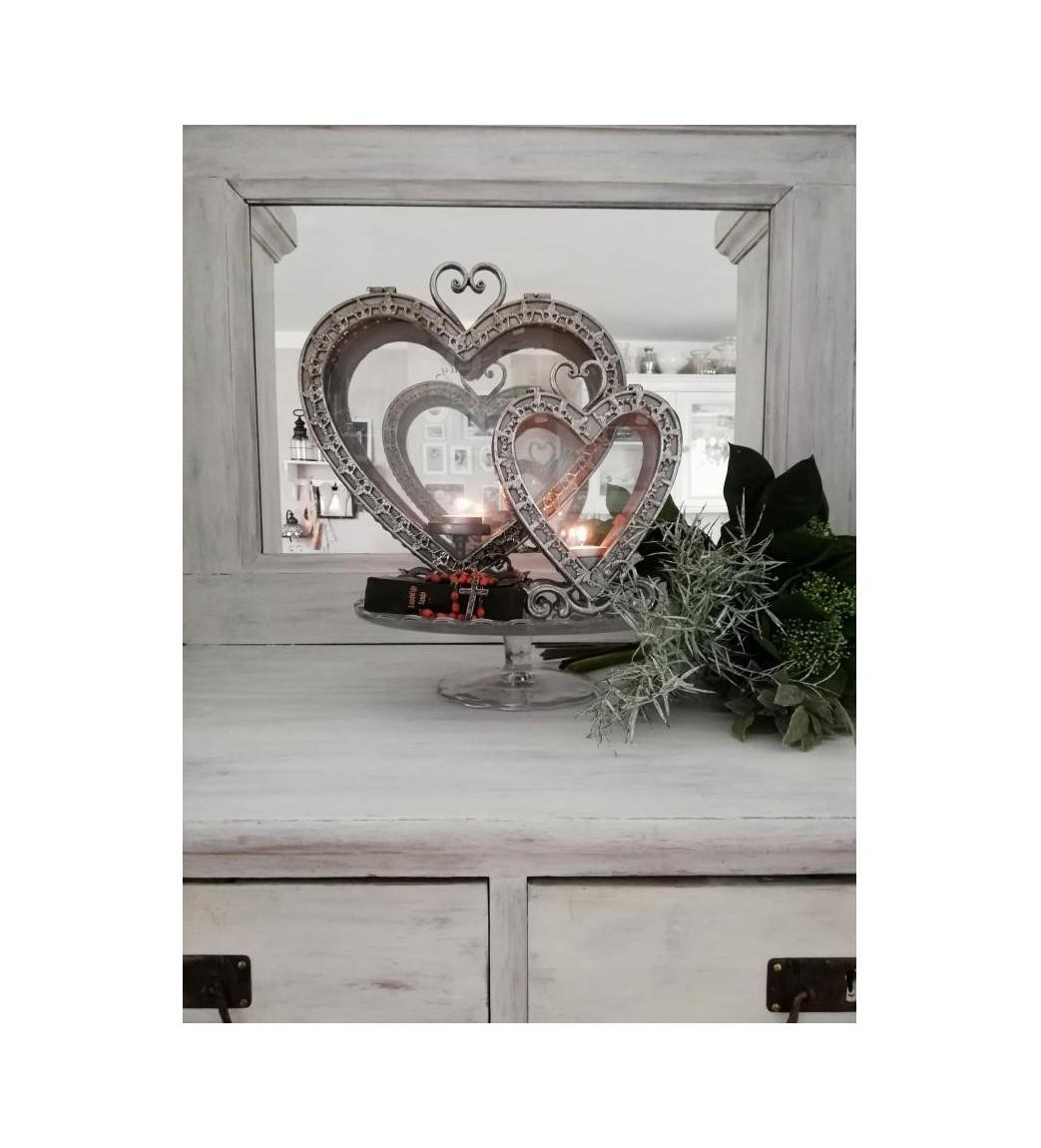 Stor antiksølv hjerte lanterne H: 32 cm.  - 1