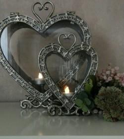 Stor antiksølv hjerte lanterne H: 32 cm.  - 3