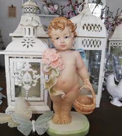 Stående engel med kurv H: 23 cm.  - 1