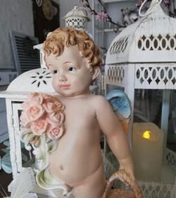 Stående engel med kurv H: 23 cm.  - 2