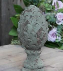 Lille antik grøn kogle H: 20 cm.  - 1