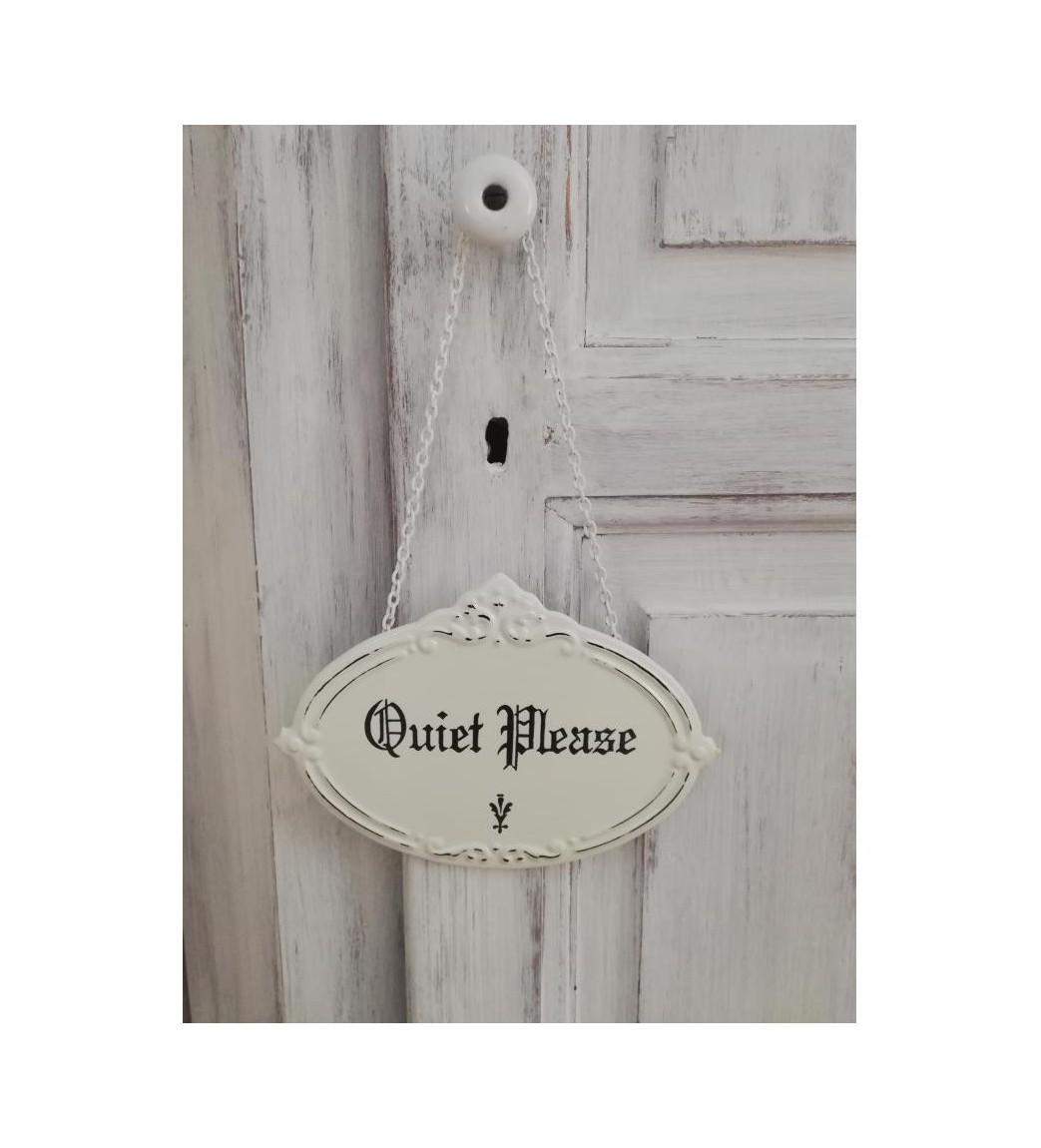 Cremehvidt skilt (Quiet please) - 1