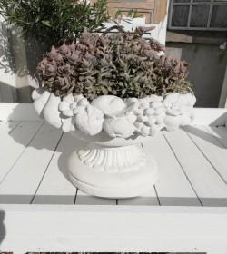 Blomsterkrukke i marmor m/frugtkant - 1