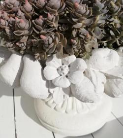 Blomsterkrukke i marmor m/frugtkant - 2
