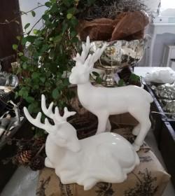 Sæt med 2 stk. hvide rensdyr i porcelæn - 1