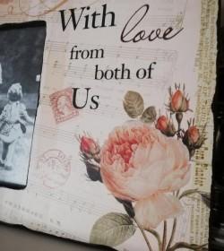 Billederamme med roser (With love..) - 2