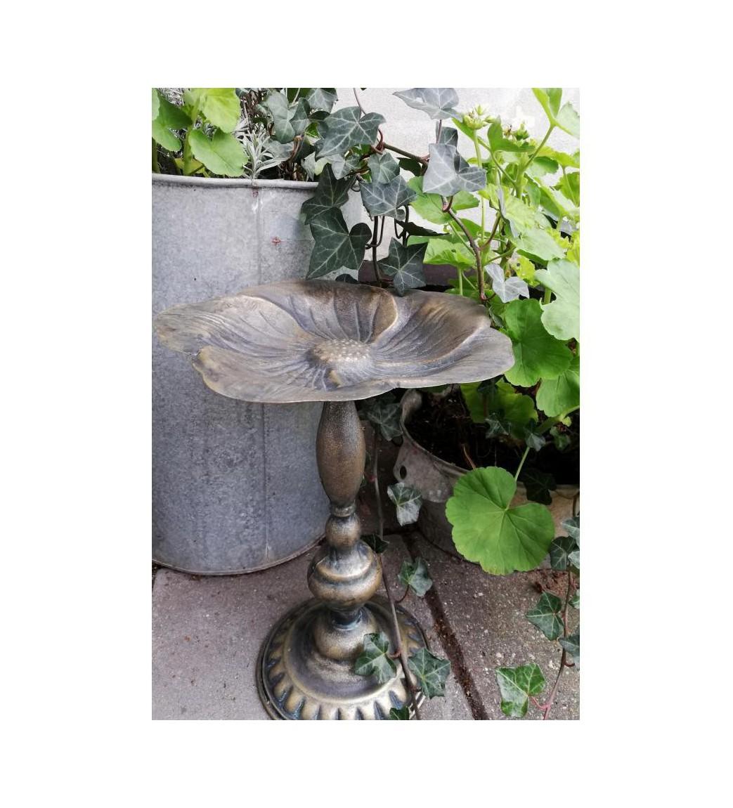 Lille fuglebad/opsats på fod i metal H: 34,5 cm.  - 2