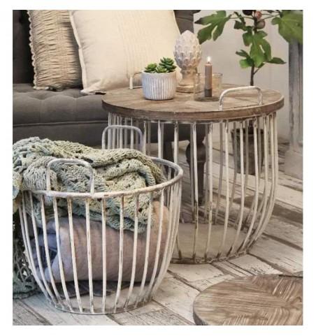 Sæt med 2 stk. creme sofaborde med trælåg Ø: 48 og 56,5 cm.  - 1
