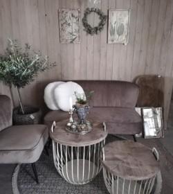Sæt med 2 stk. creme sofaborde med trælåg Ø: 48 og 56,5 cm.  - 4