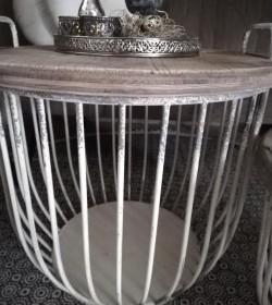 Sæt med 2 stk. creme sofaborde med trælåg Ø: 48 og 56,5 cm.  - 5