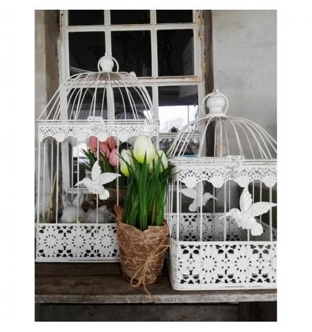 Kunstige hvide tulipaner i potte H: 23 cm.   - 1