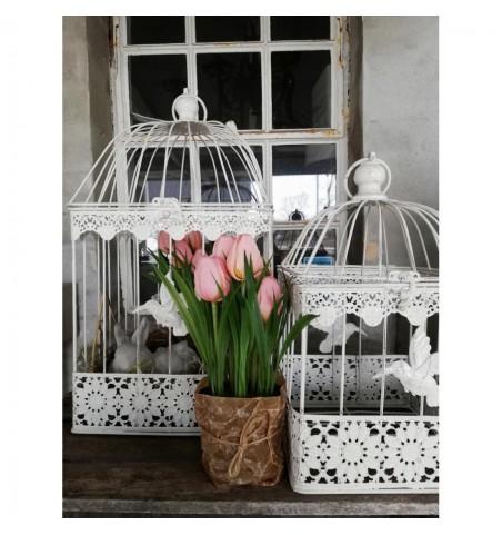 Kunstige rosa tulipaner i potte H: 23 cm.   - 1