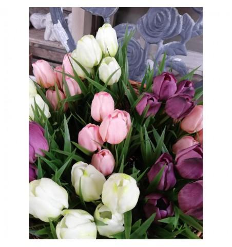 Kunstige rosa tulipaner i potte H: 23 cm.   - 3