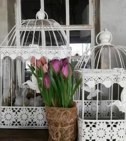 Kunstige lilla tulipaner i potte H: 23 cm.   - 1