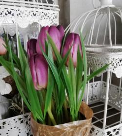 Kunstige lilla tulipaner i potte H: 23 cm.   - 2