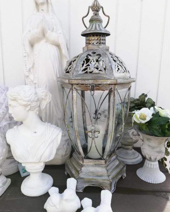 Høj 6-kantet lanterne i antikzink H: 57 cm.  - 1