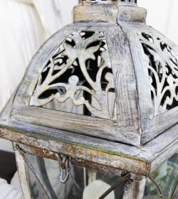 Høj 6-kantet lanterne i antikzink H: 57 cm.  - 2