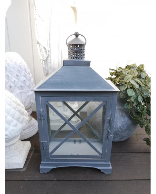 Tin lanterne med kryds H: 38 cm. pr. stk.  - 1