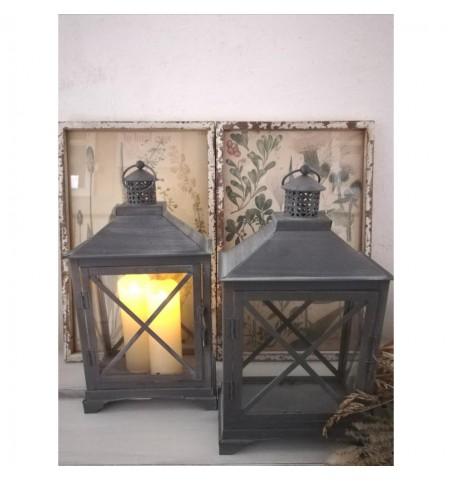 Tin lanterne med kryds H: 38 cm. pr. stk.  - 2