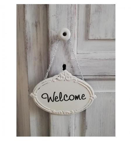 Cremehvidt skilt med kæde (Welcome) - 1