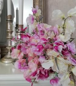 Kunstig ærteblomst lilla/hvid L: 70 cm. pr. stk.  - 3