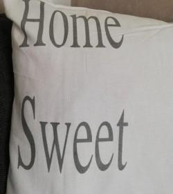 Hvidt pudebetræk Home sweet home 50x70 cm. (Uden fyld) - 2