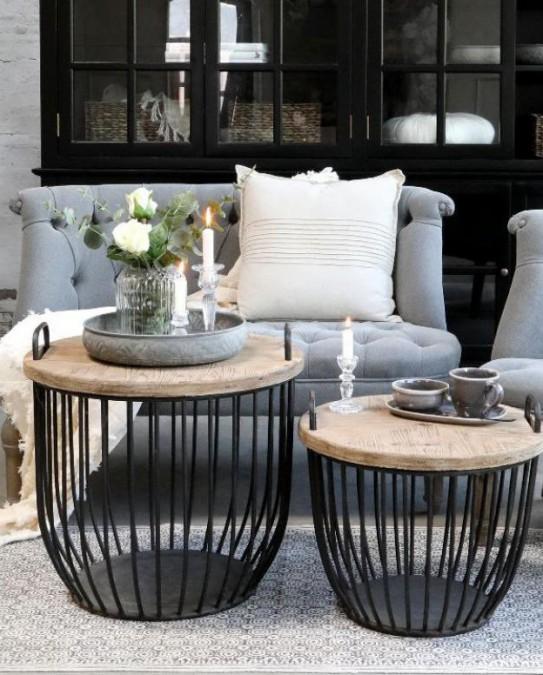 Sæt med 2 stk. sorte sofaborde med trælåg Ø: 48/56,5 cm.  - 1