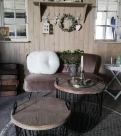 Sæt med 2 stk. sorte sofaborde med trælåg Ø: 48/56,5 cm.  - 2