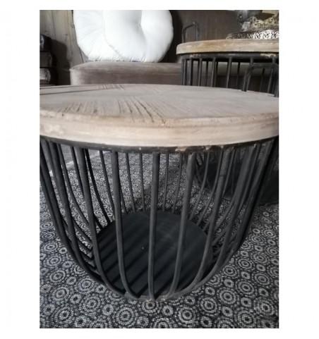 Sæt med 2 stk. sorte sofaborde med trælåg Ø: 48/56,5 cm.  - 3