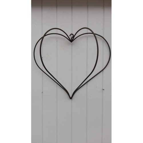 Stort rustent hjerte med 4 buer og krog - Solgt