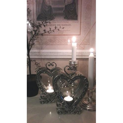 Antiksølv hjerte lanterne - Solgt