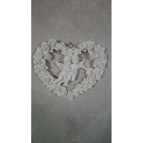 Hjertekrans med engle og roser