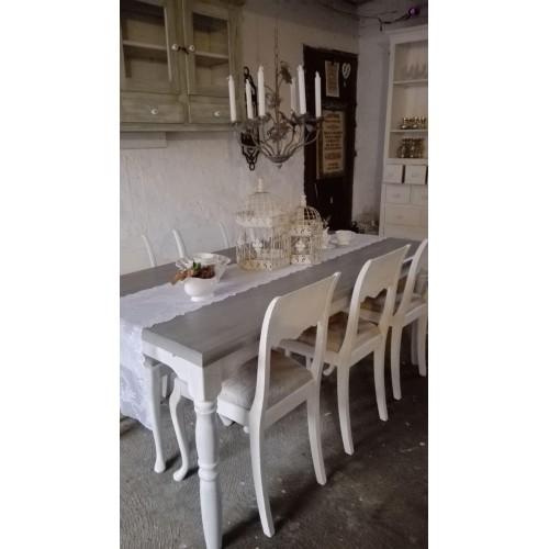 Sæt med hvidt langbord og 6 stk. stole - Samlet